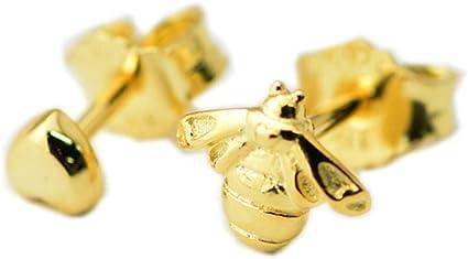 PANDOCCI Orecchini a lobo in argento 925 a cuore e ape in oro giallo  primavera 2018 FAI DA TE Adatto per gioielli di moda con bracciali Pandora  ...