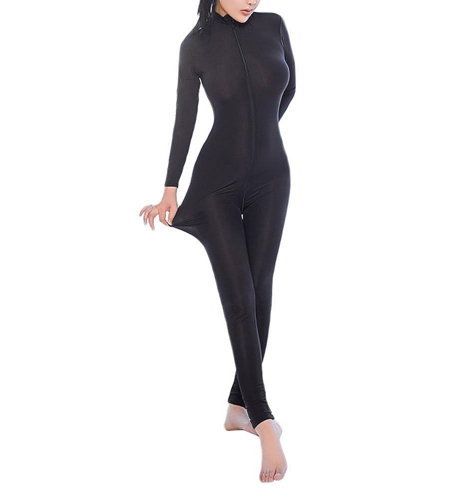 42d8d444fb20 Amazon.com  Zukzi Womens Zipper Front Long Sleeve Full Bodysuit Tight  Jumpsuit