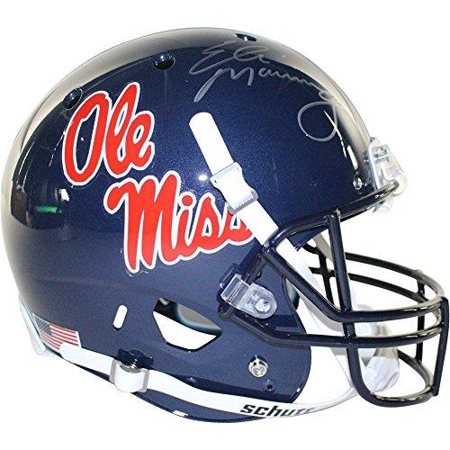 Autographed Replica Helmet Manning Eli (Eli Manning Autographed Schutt Ole Miss Replica Full Size Helmet - Authentic Signature)