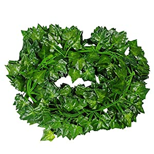 Tenchif 12 Pack Artificial Vines Leaves, 84 Feet Fake Greenery Ivy Garland Hanging Plants for Wedding Party Home Kitchen Garden Wall Swing Outdoor Decoration 12