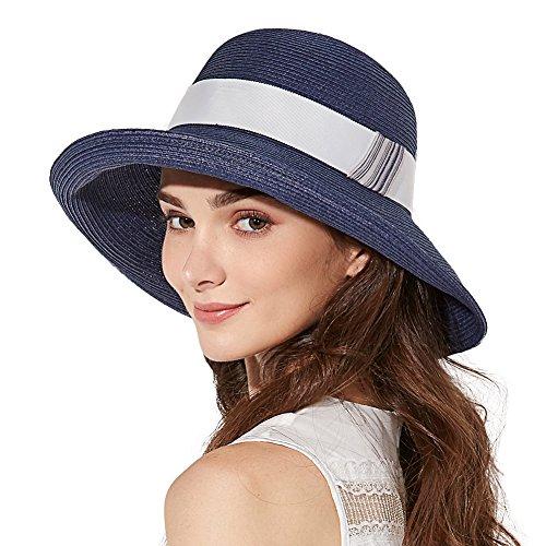 7f646dc3fb0 Womens Sun Summer Straw Beach Hat Floppy Fashion Stylish Travel Panama  Fedora Hats Foldable UV Navy