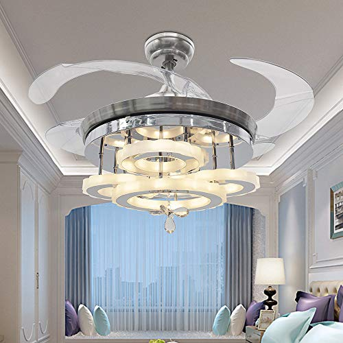 TiptonLight Crystal Retractable Ceiling Fans 42 Inch Invisible Chandelier Fan with Remote Control 3 Color Changing