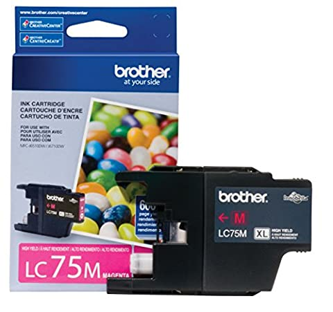 Brother Printer LC75M High Yield (XL Series) Magenta Cartridge Ink - Retail Packaging (Brother Printer Ink Lc 75)