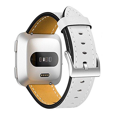 Nclon Ersatz-Armband für Fitbit Versa/Smartwatch, klassisches Vintage-Echtleder, mit Edelstahl-Verschluss