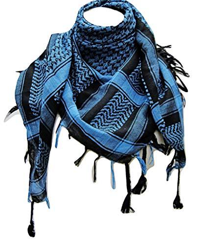 Premium Shemagh Head Neck Scarf - Turquoise Blue/Black -