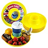 Great Plate – Plastic Party Plate for Food and Drink in One Hand - Yellow, 6 Piece