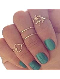 4PCS/Set Gold Plated Crystal Plain Cute Above Knuckle Ring Band Midi Ring Rings