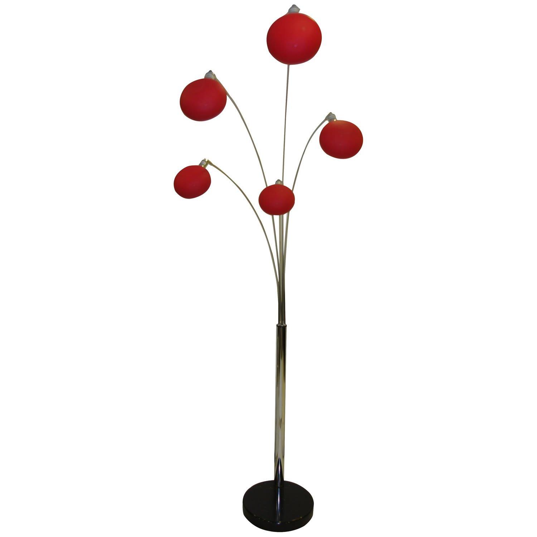 Danalight lounge 5 light floor lamp purple glasswells - Giatalia Armada Arm Floor Lamp In Red Floor Standing Lamp