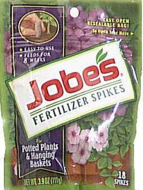 - Jobe's Fertilizer Spikes for Flowering Plants 8-9-12 Time Release Fertilizer for Hanging Baskets andPotted Plants, 18 Spikes per Package