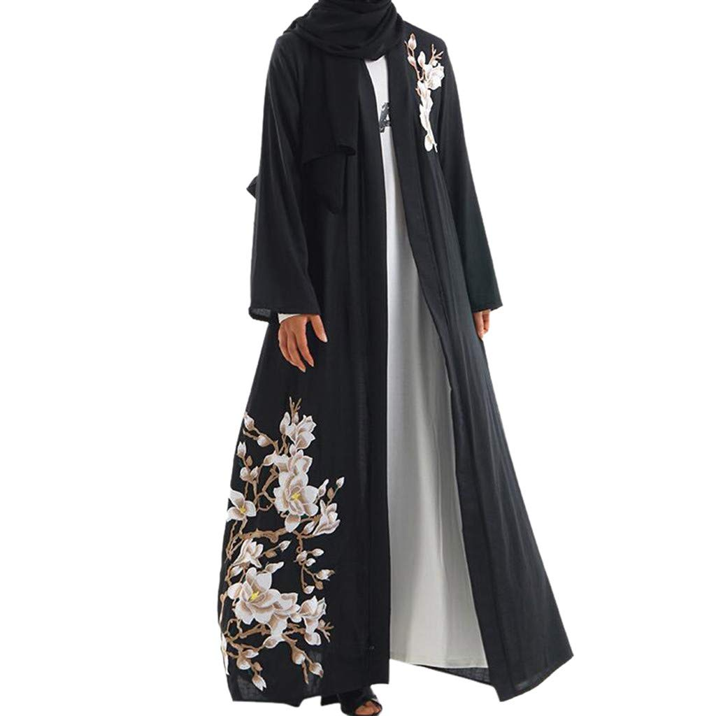 Tootu Women Dress Necklace Robe Muslim Arab Middle Eastern Long Sleeve Dress Black