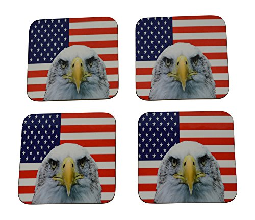American Eagle Flag Drink Coaster Set Gift United States of America Military Veteran Home Kitchen Bar Barware