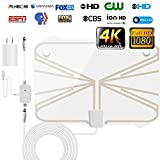 HD Digital TV Antenna-95 Miles Range with Newest Powerful HDTV Amplifier Signal Booster-Support All TV's for Indoor with 16.5 ft Coax Cable/Power Adapter-4K 1080p available [NEWEST 2018]