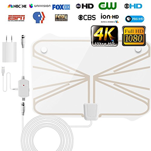 TV Antenna, Skywire Amplified HD Digital IndoorTV Antenna 60-100 Miles Long Range with Detachable Amplifier Signal Booster,USB Power Supply and 16.5 ft Coax Cable for 1080P 4K VHF UHF (100 Mile Range)