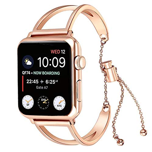 KoudHug Bracelet Compatible Apple Watch Band 38mm 40mm 42mm 44mm iWatch Series 4/3/2/1, Stainless Steel Apple Watch Band Women Cuff Wristband ()