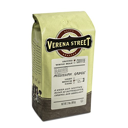 Verena Street, Mississippi Grogg, ground flavored coffee, 2LB (32oz.), Rainforest Alliance Certified, Fresh Craft Roasted Specialty Arabica Gourmet Premium (Creme Flavored Regular Coffee)