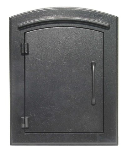 Column Mount Mailbox - QualArc MAN-1400BL Manchester Column Mount Mailbox Plain Door, Black