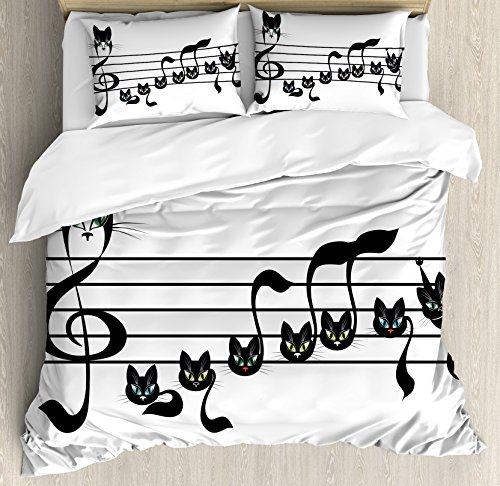 Music Decor King Size Duvet Cover Set by Ambesonne, Notes Kittens Kitty Cat Artwork Notation Tune Children Halloween Stylized, Decorative 3 Piece Bedding Set with 2 Pillow Shams (Halloween 2 Theme Tune)
