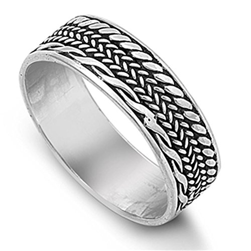 Bali Weave Braided Rope Thumb Ring New .925 Sterling Silver Band Size (Rope Thumb Ring)