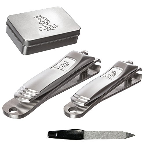 - Nail Clipper Set - Heavy Duty Fingernail and Toenail Clippers for Thick Nails - Sharpest Professional Quality Cutter in Brushed Stainless Steel - Bonus Case with File for Men or Women -3 Pcs Set