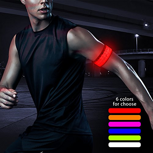 HiGO LED Sports Armband, Rainproof Glow In the Dark Led Slap Bracelet Flashing Safety Light for Running, Cycling or Walking At Night (Red--Design IV)