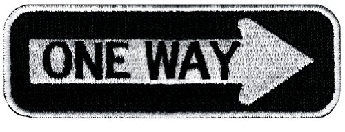 One Way Sign Embroidered Patch Iron-On Highway Road Biker Emblem Arrow