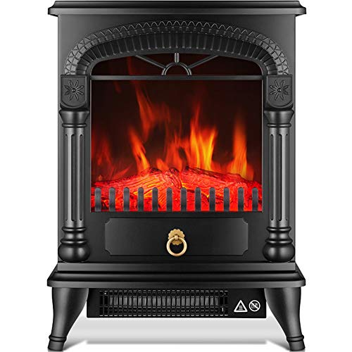 Cheap Standing Electric Fireplace Stovetop Portable Electric Retro Fireplace With Realistic Fire And Logs. Adjustable 2000W 30 Space Heater Fan Black Friday & Cyber Monday 2019