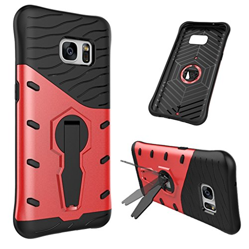 MuTouNiao Samsung Galaxy S7 Case, Cell Phone Case Silicone & Plastic PC 2 in 1 360°Rotating Stand with Lanyard Hole Shockproof Back Case Cover for Samsung Galaxy S7 - (Lanyard Hole)