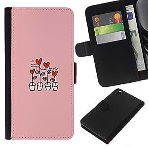 KLONGSHOP // Tirón de la caja Cartera de cuero con ranuras para tarjetas - Corazón rosado Dibujo lindo - HTC DESIRE 816 //