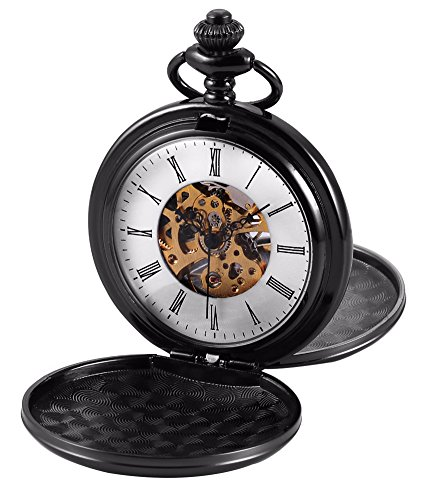 SwitchMe Vintage Skeleton Hand Wind Mechanical Pocket Watch Double Cover Hollow Dial with Belt Clip Chain (Black-1)