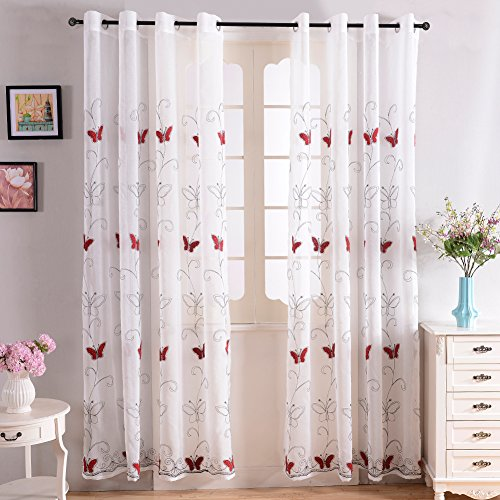 Top Finel Embroidered Butterfly Curtains