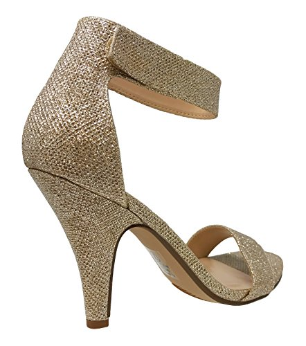 Delicious Womens Open Toe High Heel Ankle Strap Dress Sandal Heeled-Sandals Penny Shimmer* 8ooemLy4