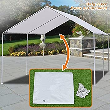 Strong Camel New 10 x20 Canopy for Tent Garage Tarp Top Shelter Cover w Ball Bungees Only Cover, Frame is not Included