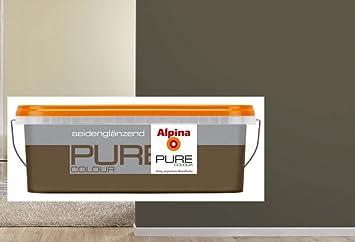 ALPINA Pure Colour 2,5 L Wandfarbe Innen, Kokos Seidenglänzend Grau Braun,  Mokka