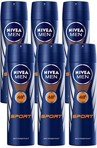 Nivea for Men Sport Deodorant/Antiperspirant Spray 150ML (6 Pack)