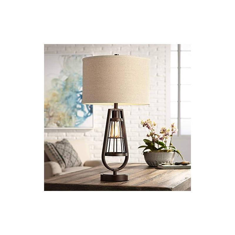 Topher Rustic Industrial Table Lamp with Nightlight LED Edison Brown Metal Burlap Drum Shade for Living Room Bedroom…