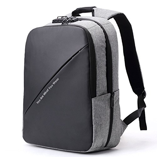BISON DENIM Slim Business Laptop Backpacks Anti thief Tear/Water Resistant Travel Bag Backpacks fits up to 15 15.6 Inch Computer Laptops Backpack In Grey by BISON DENIM (Image #7)