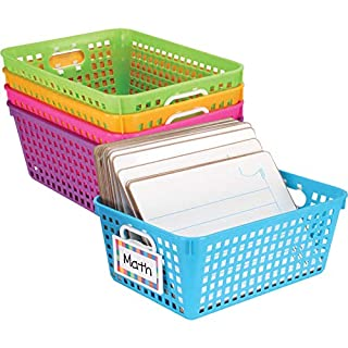 """Multi Purpose Storage Baskets and Clip On Labels Set -13""""x 10"""" -5 Pack Neon"""