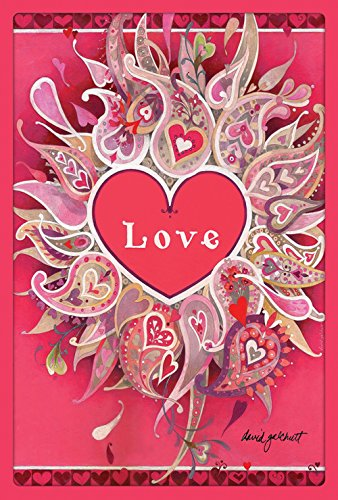 Toland Home Garden Love Petals 28 x 40 Inch Decorative Valentine Paisley Heart House Flag - Paisley Hearts
