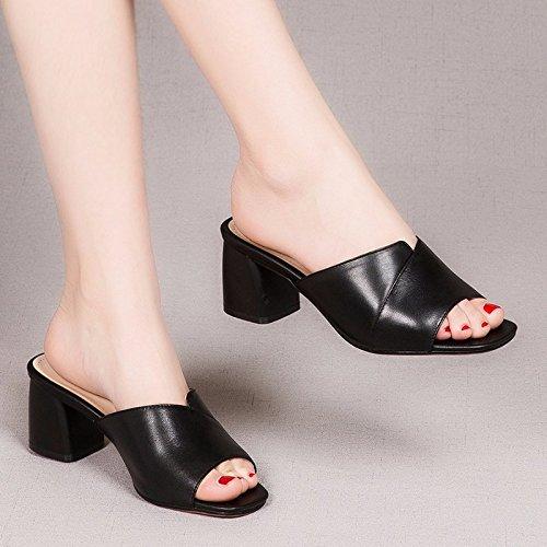 AJUNR Moda/Elegante/Transpirable/Sandalias Boca de Pescado Medio Tacón Zapatillas Fresco en Verano Rugoso Arrastre Zapatos black