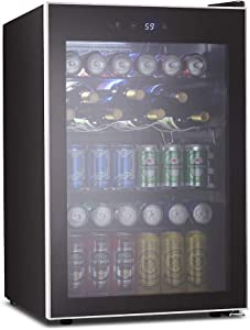 Kismile 4.5 Cu.ft Beverage Refrigerator and Cooler,126 Can Mini Fridge Glass Door with Digital Temperature Display for Soda,Beer or Wine,small Drink Dispenser Cooler for Home,Office or Bar (Silver)