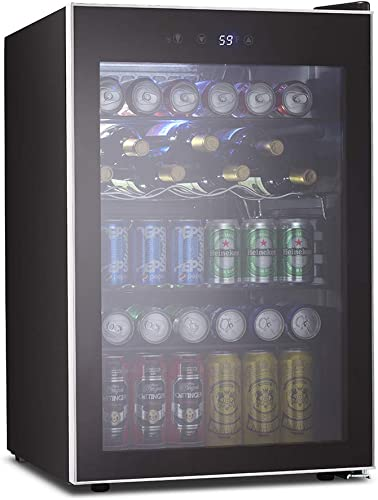 Kismile 4.5 Cu.ft Beverage Refrigerator and Cooler,126 Can Mini Fridge Glass Door with Digital Temperature Display for Soda,Beer or Wine,small Drink Dispenser Cooler for Home,Office or Bar Silver