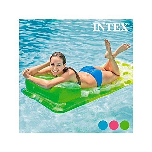 Colchoneta Hinchable con Reposacabezas Intex Color: Azul -: Amazon ...