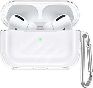 ESR Upgrade Clear Carrying Case for AirPods Pro Case 2019, Air Ripple Protective TPU Cover with Keychain [Won't Affect Wireless Charging] [Visible Front LED] [Dust & Shock-Resistant], Clear