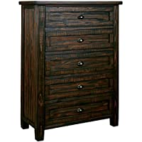 Ashley Furniture Signature Design - Trudell Chest of Drawers - 5-Drawer Vintage Casual Dresser - Dark Brown
