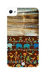 iZERCASE Colorful Africa on Wood Pattern Rugged Pattern iphone 4, iPhone 4S case - Fits iphone 4/4S T-Mobile, AT&T, Sprint, Verizon and International (White)