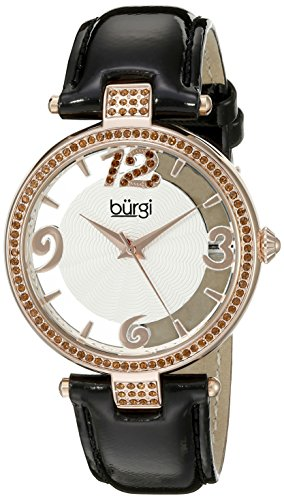 Burgi Women's BUR150BKR Rose Gold Quartz Watch with Swarovski Crystal Accents and See Thru Dial With Black Leather Strap