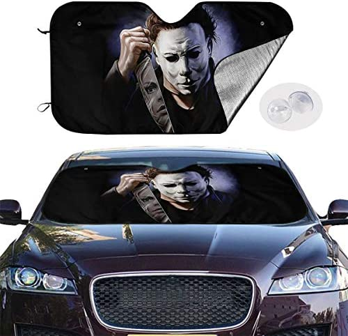 Fits Windshields of Various Sizes Sunshade to Keep Your Vehicle Cool and Damage Free Blocks UV Rays Sun Visor Protector Easy to Use Halloween Mich-ael My-ers Car Windshield Sun Shade