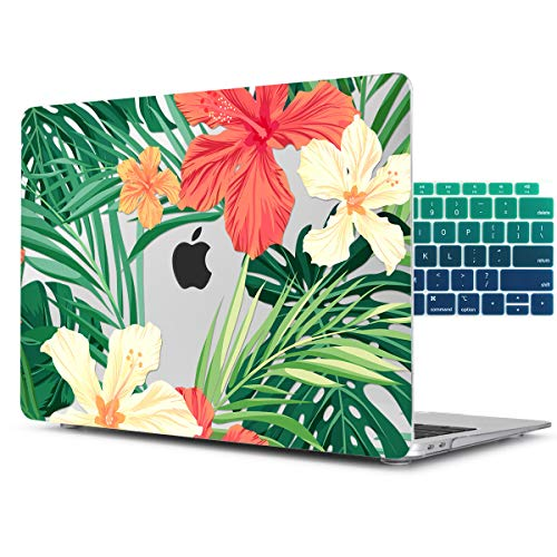 (Dongke for MacBook Air 11 inch Model Number:A1370 / A1465 Beautiful Petals and Green Leaves Printed Hard Plastic Case Cover with Gradient Color Keyboard Skin)