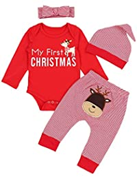 Christmas Outfits Baby Girls Boys My First Christmas Rompers Bodysuit Deer Pants with Christmas Hat