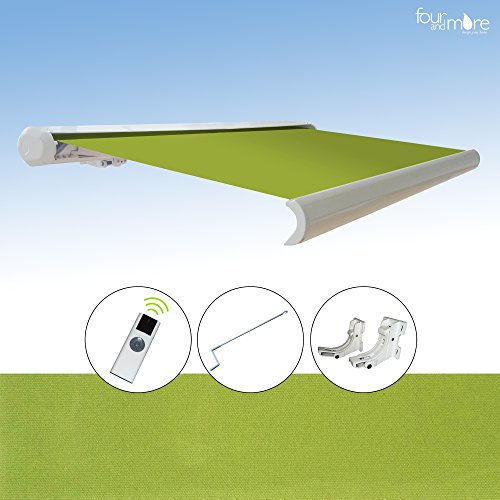 Elektrische Vollkassettenmarkise mit Fernbedienung / Notkurbel (400 cm, Apfel (grün))